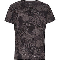 Boys grey skull and floral burnout T-shirt