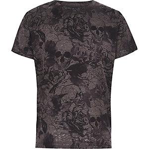 Graues T-Shirt mit Totenkopf- und Blumenmuster