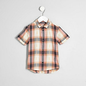 Mini boys orange check short sleeve shirt