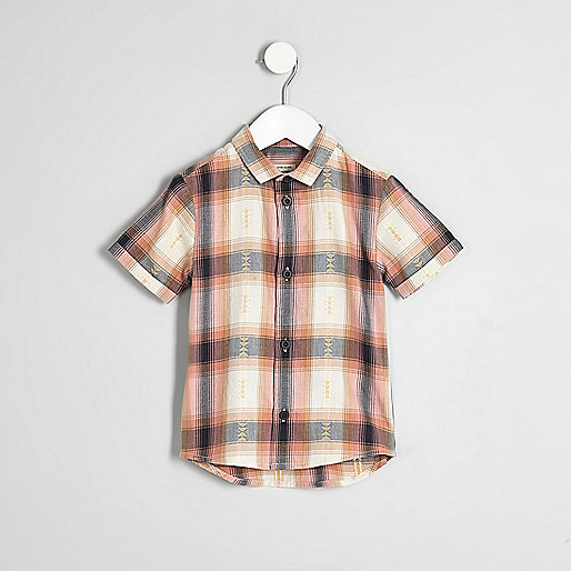 Mini boys orange check short sleeve shirt