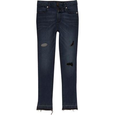 Sid Blauwe denim ripped skinny jeans voor jongens