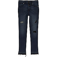 Boys blue denim Sid ripped skinny jeans