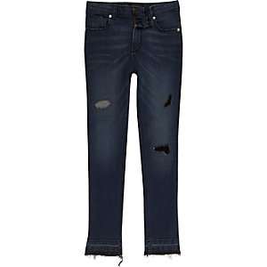 Blue denim Sid ripped skinny jeans