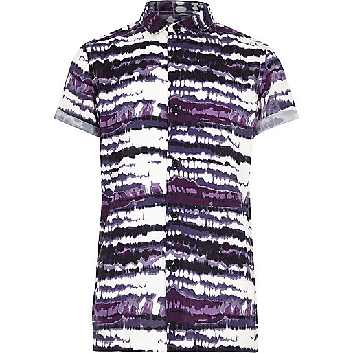Boys purple tie dye print short sleeve shirt