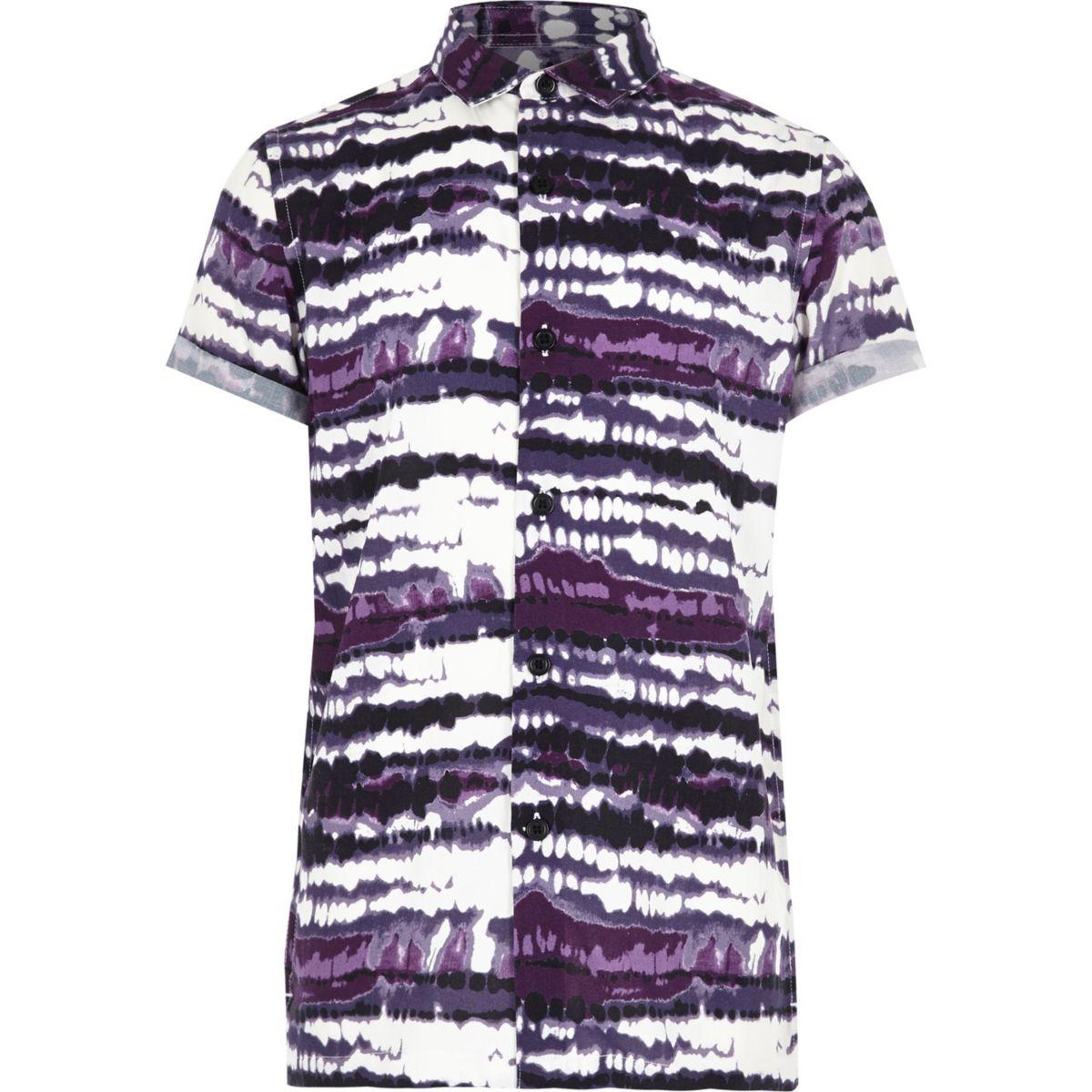 Boys purple tie dye print short sleeve shirt