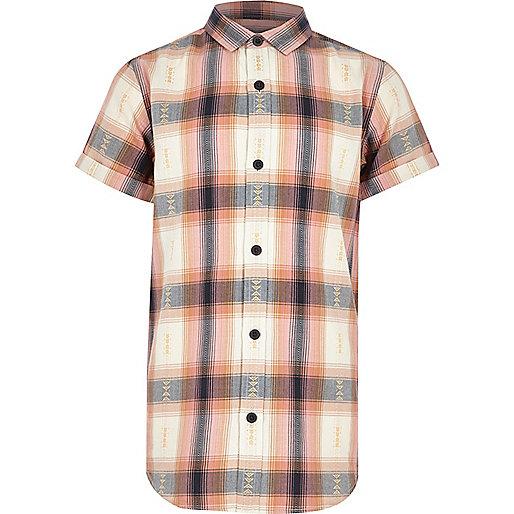Boys orange check short sleeve shirt