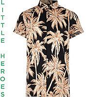 Boys black palm print short sleeve shirt