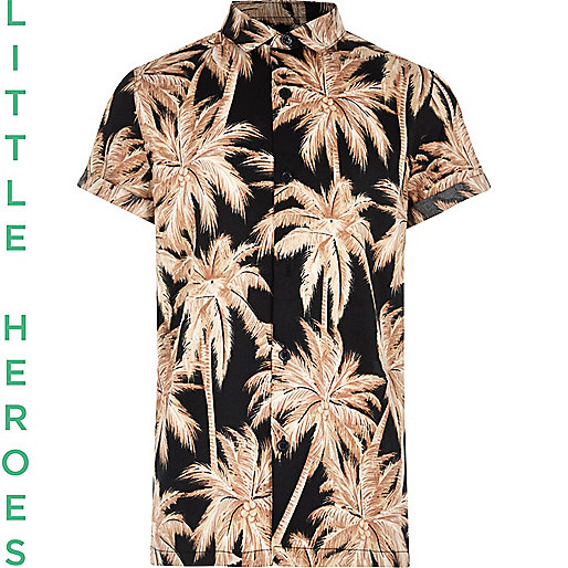 Boys black palm print short sleeve shirt