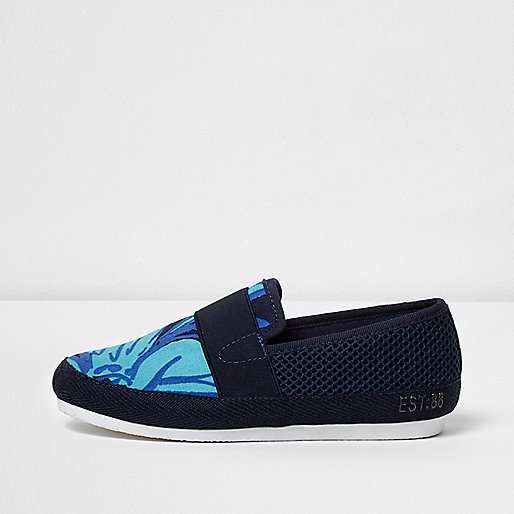 Boys navy floral print slip on plimsolls