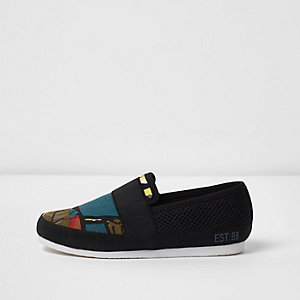 Boys black abstract print slip on plimsolls