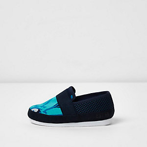 Mini boys navy printed slip on plimsolls
