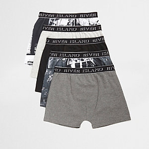 Boys black city print boxers multipack