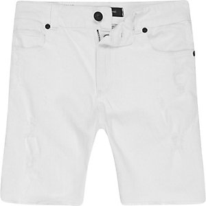 Boys white ripped Dylan slim fit denim shorts