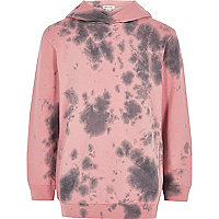 Boys pink tie dye hoodie