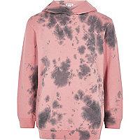 Sweat rose effet tie-dye à capuche pour garçon