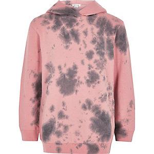 Boys pink tie dye hoodie
