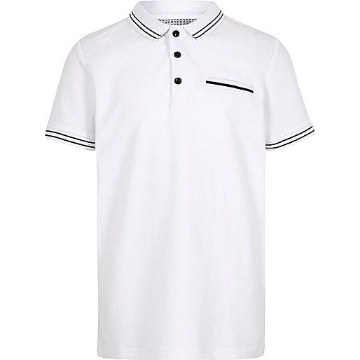 Boys white tipped short sleeve polo shirt