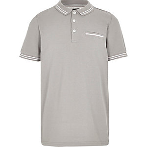 Boys grey tipped short sleeve polo shirt