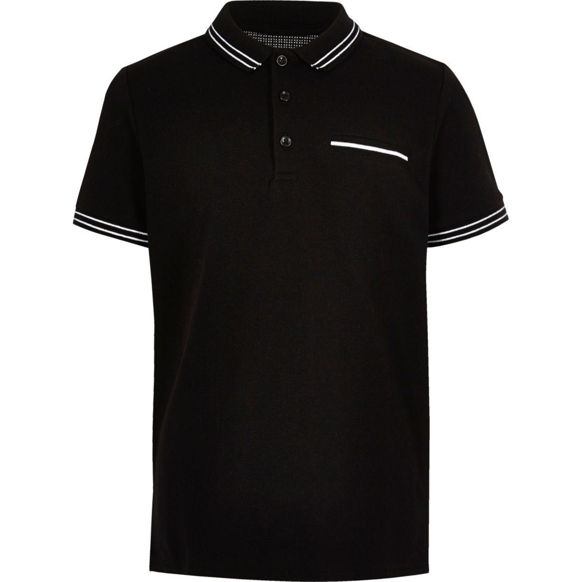 Boys black tipped short sleeve polo shirt