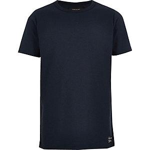 Marineblauw T-shirt met wafeldessin voor jongens