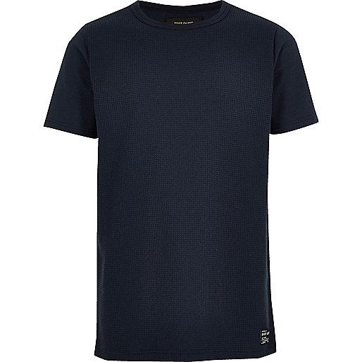 Boys navy waffle T-shirt