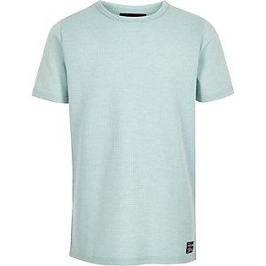 Mintgroen T-shirt met wafeldessin voor jongens