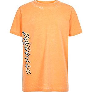 Oranje burnout T-shirt met 'Bahamas'-print voor jongens