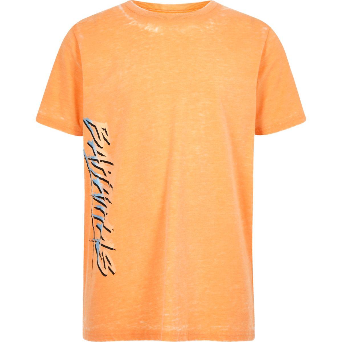 Boys orange burnout 'Bahamas' print T-shirt