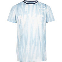 Boys blue mesh 'NYC' tie dye T-shirt