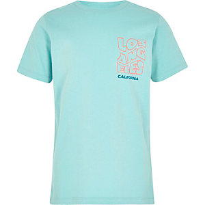 Boys mint green 'California' print T-shirt