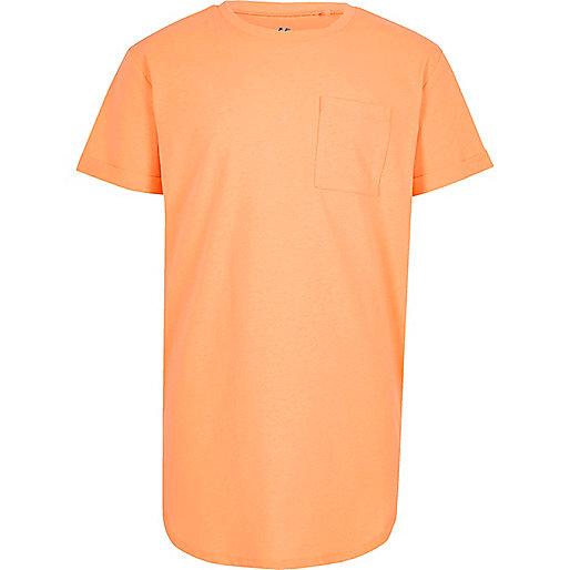 Boys orange curved hem T-shirt
