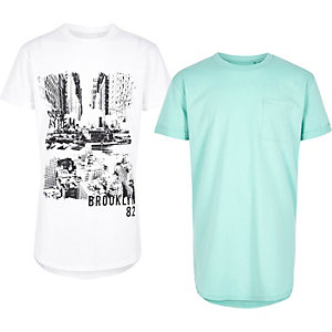 Boys green and white print T-shirt multipack