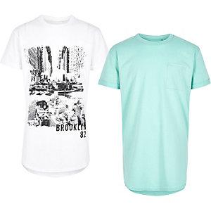 Lot de t-shirts à imprimé vert et blanc pour garçon
