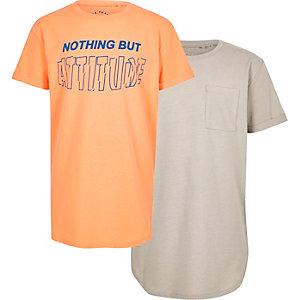 Multipack kiezelkleurige en oranje T-shirts met print voor jongens