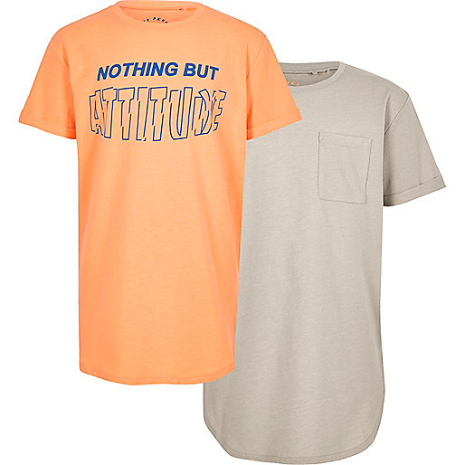 Boys stone and orange print T-shirt multipack