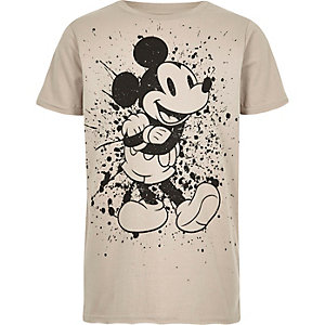 T-shirt à imprimé Mickey Mouse grège pour garçon