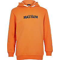 Boys orange 'Mayhem' print hoodie