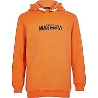 Boys orange 'Mayhem' print hoodie