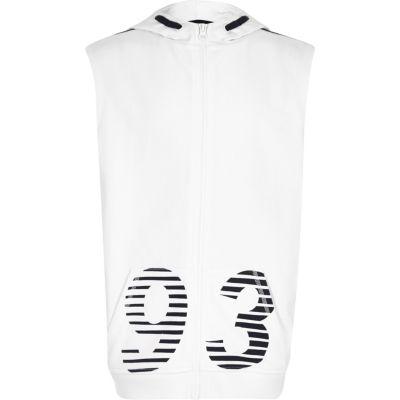 Set met witte mouwloze hoodie met 93'-print voor jongens