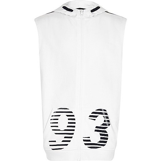 Boys white '93' print sleeveless hoodie