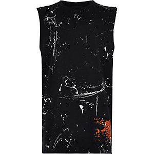 Boys black paint splatter vest