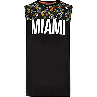 Boys black 'Miami' contrast print vest