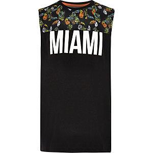 Zwart hemd met contrasterende 'Miami'-print voor jongens