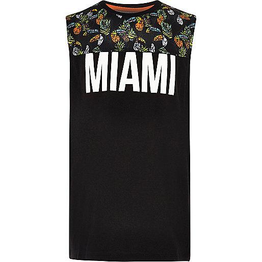 Boys black 'Miami' contrast print tank