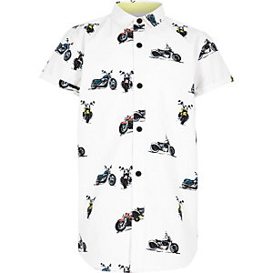 Boys white motorbike short sleeve shirt