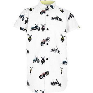 Wit bikeroverhemd met korte mouwen voor jongens