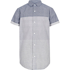 Boys blue geo print panel short sleeve shirt