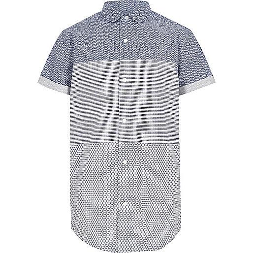 Boys blue geo print panel short sleeve shirt