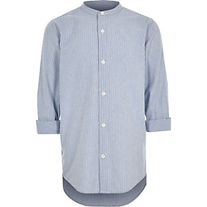 Boys blue stripe rolled sleeve grandad shirt