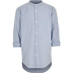 Blauw gestreept overhemd zonder kraag met opgerolde mouwen voor jongens